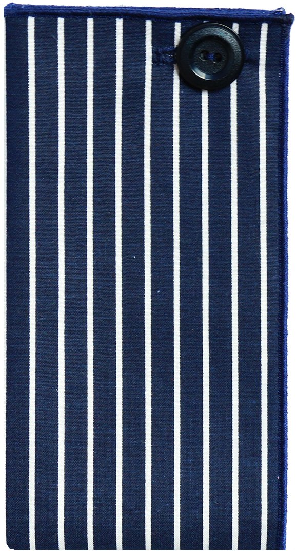 Navy Blue & White Stripe w/ Navy Button Men's Pocket Square by The Detailed Male