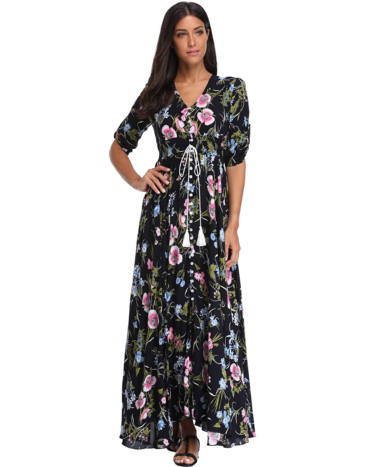 410caf6bac9 Summer Floral Print Maxi Dress Women Button Up Split Long Flowy Bohemian  Beach Party Dresses at Amazon Women s Clothing store