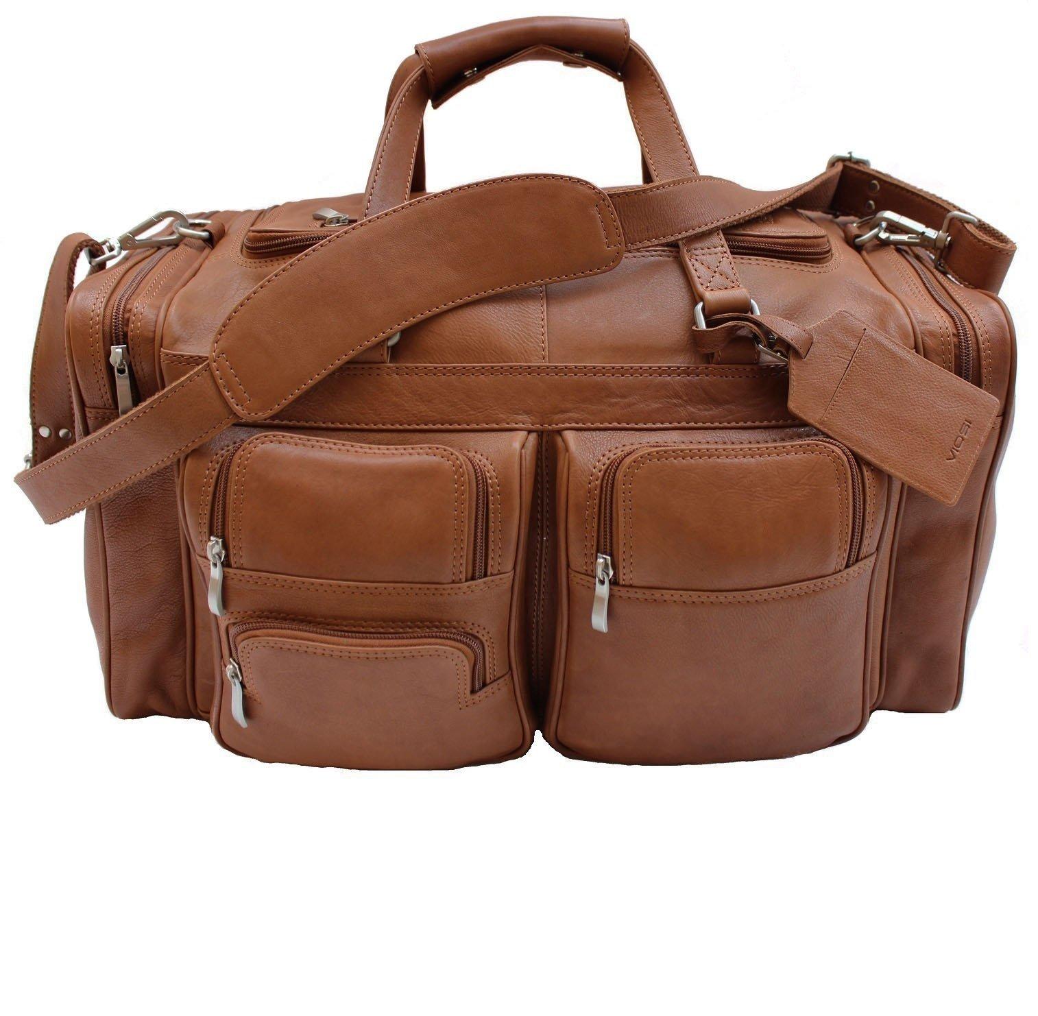 Viosi Malibu 20 Inch Genuine Leather Duffel Travel Bag Sports Gym Bag Weekender Overnight Luggage (Cognac)