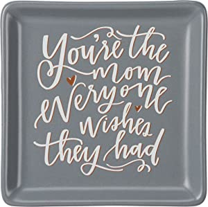 Primitives by Kathy 34171 Hand-Lettered Stoneware Trinket Tray, 4.13