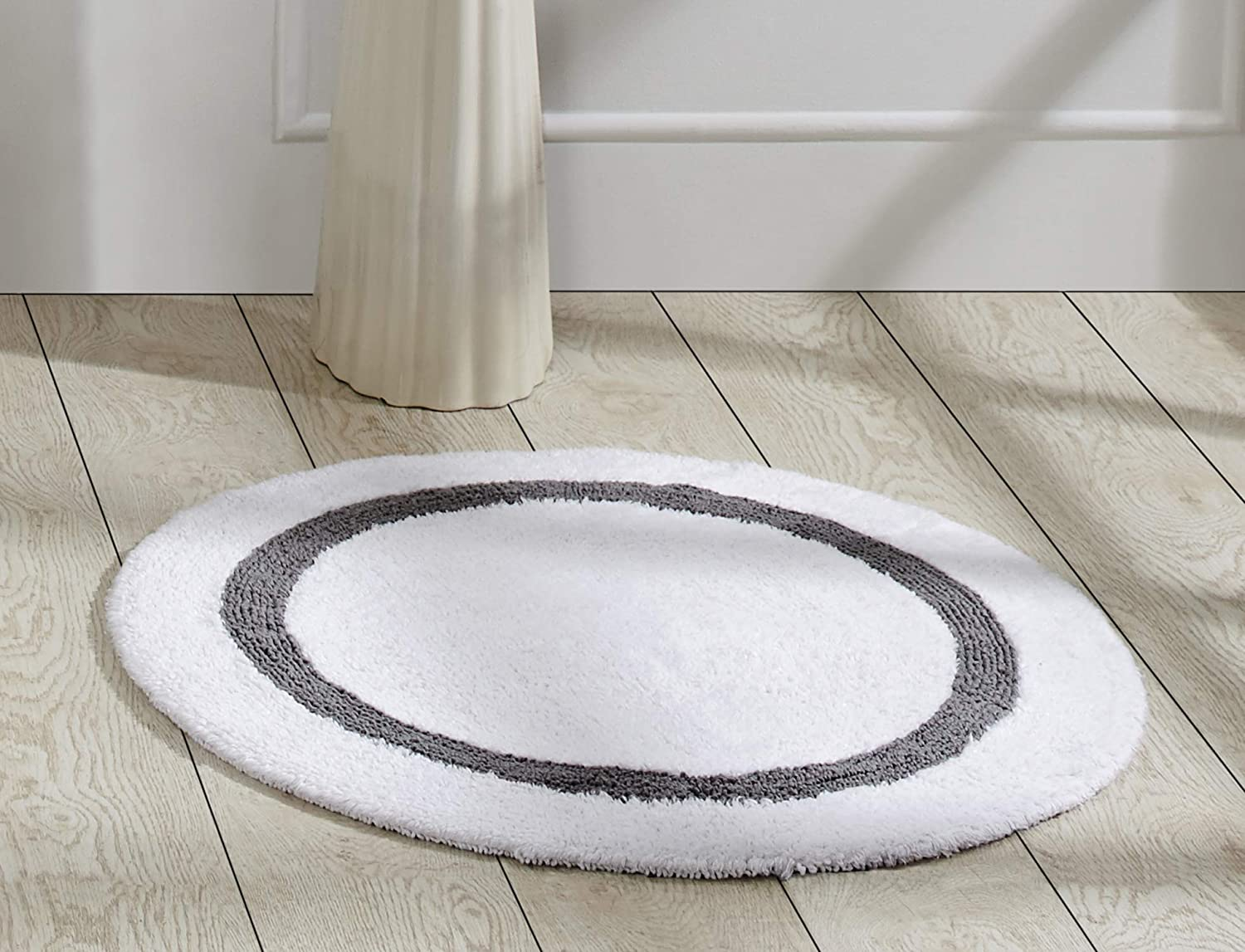 Better Trends Hotel Collection in Race Track Pattern Thick Bath Mat Rug Machine Washable 100/% Cotton Super Absorbent Reversible Double Sided 30 Round White /& Gray