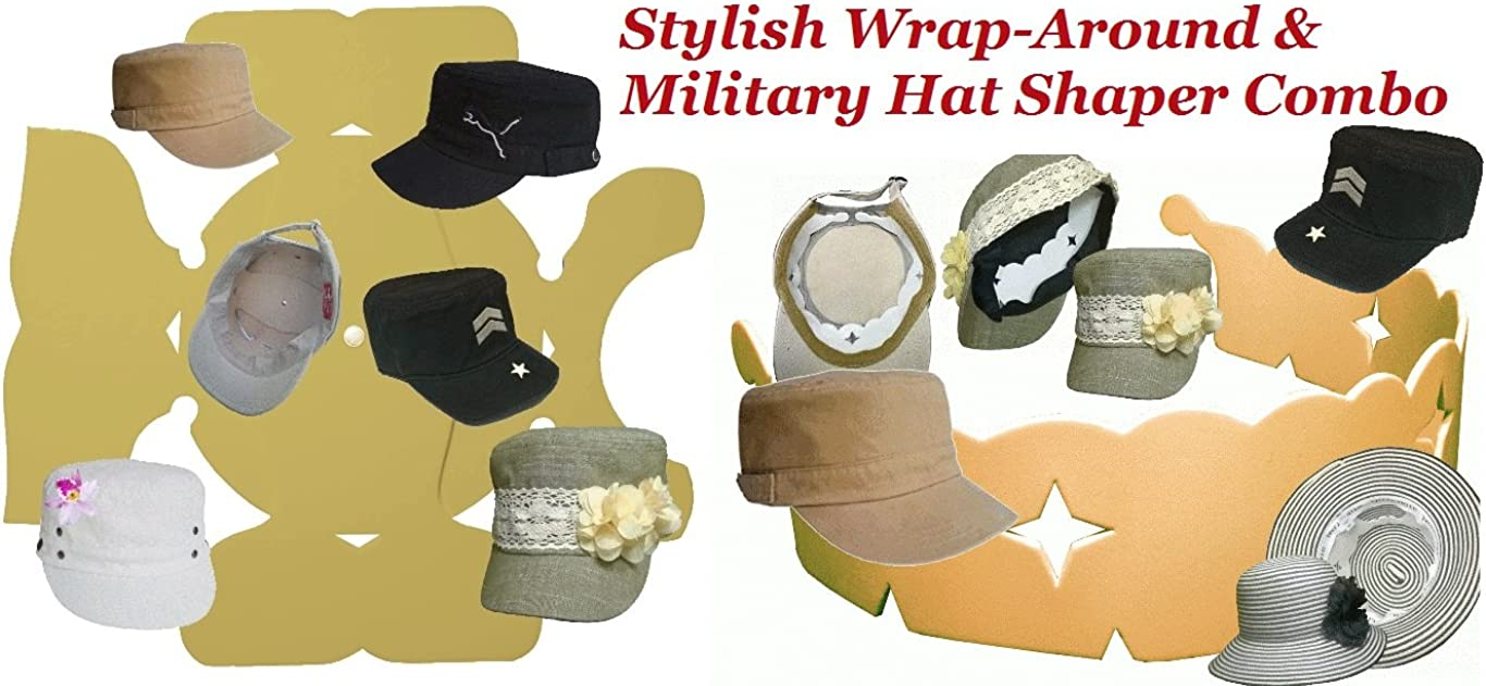1Pk. Stylish Wrap-Around & Military Hat Shaper Combo  Hat Storage aide  Long Lasting Hat Liner