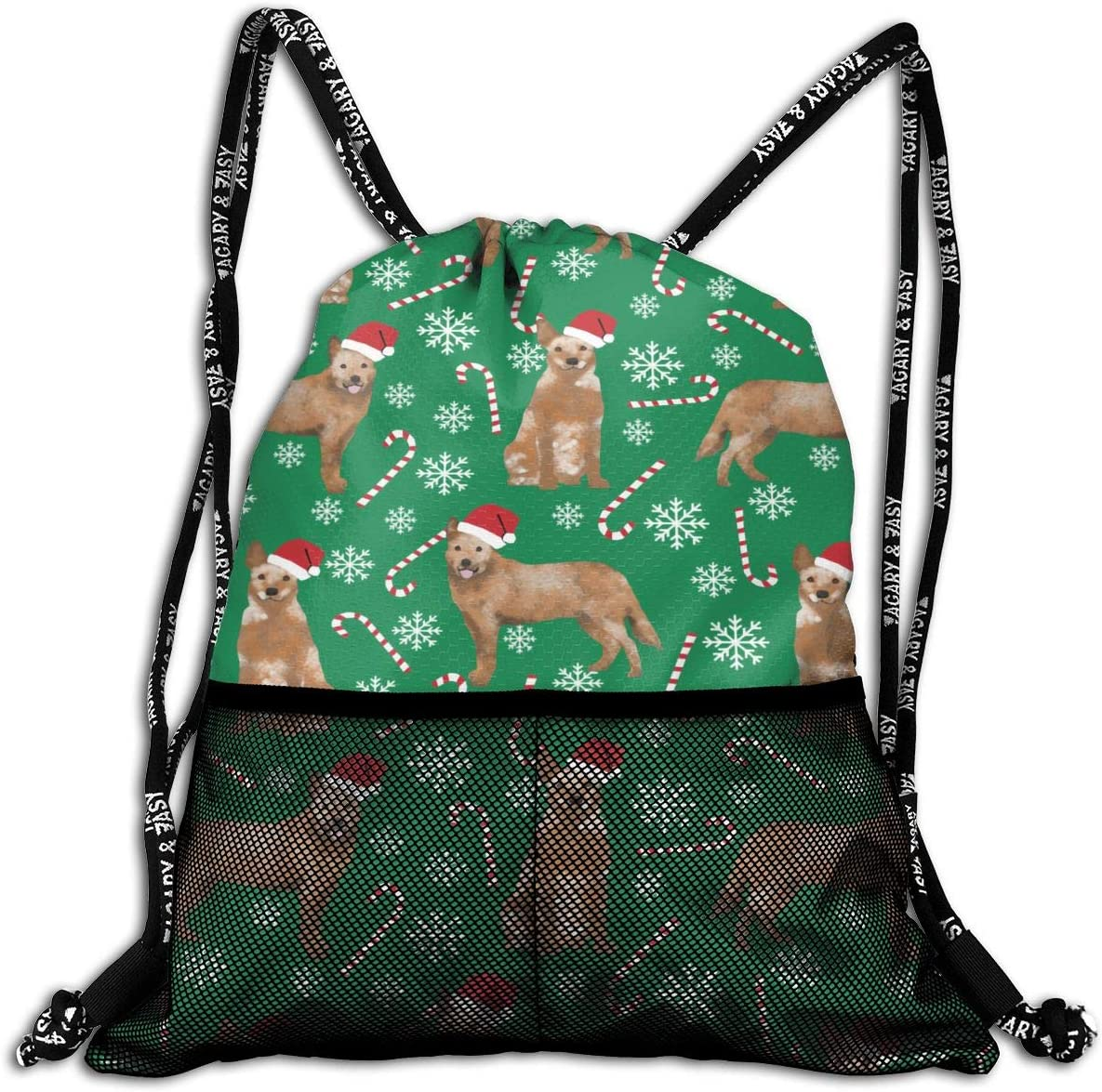 Drawstring Backpack Dog Christmas Sticks Candy Canes Bags
