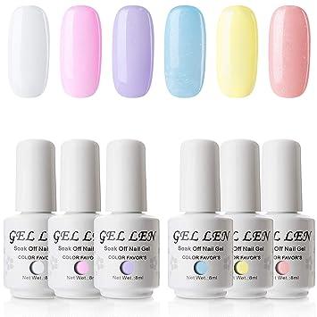 Amazon Com Gellen Gel Nail Polish Set Juicy Candy Series 6 Colors Cute Fresh Bright Subtle Sparkle Nail Art Colors Home Gel Manicure Kit Beauty