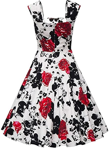 5ddf474008b4 KILOLONE Womens 1950 Plus Size Dress Christmas Party Retro Vintage Dress  Rockabilly Pinup Cocktail Swing Dresses at Amazon Women's Clothing store: