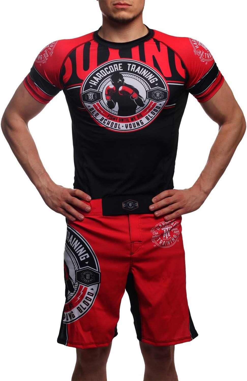 Hardcore Training Rash Guard Mens Round Short Sleeve Base Layer MMA Crossfit BJJ Gym No-Gi