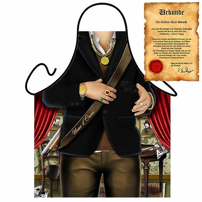 Delantal con certificado – Muñeco Mafia – divertido diseño Delantal como regalo para barbacoa Fans con
