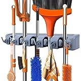 Organizador de escobas, rastrillo y herramientas con ganchos, organizador montado en la pared para cochera, clóset o cobertiz