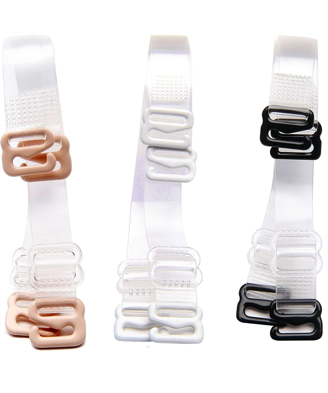 WingsLove Women 3 Pairs Bra Straps Invisible Transparent Clear Bra Straps Adjustable(Multi Sizes) 7S-9UTO-JIPE