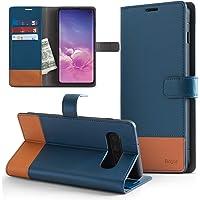 Capa Carteira para Galaxy S10, RINGKE Wallet [MAGNÉTICO][COURO][DINHEIRO e 2 CARTÕES] , Samsung Galaxy S10 (G970F - Tela 6.1) (Azul e Marrom)