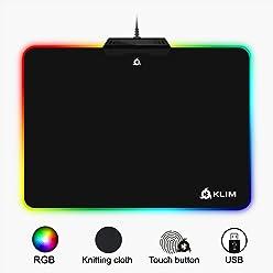 KLIM Tapis de Souris RGB Chroma - Tissu Haute Précision - Effets de Lumière - Plusieurs Modes - Gaming Gamer Jeux Vidéo - USB Rétroéclairé [ Nouvelle 2019 Version ]