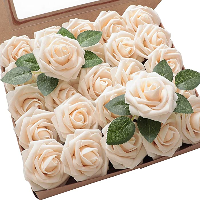 Floroom Artificial Foam Flowers 25pcs Real Looking Cream Fake Roses with Stems for DIY Wedding Bouquets Bridal Shower Centerpieces Floral Arrangements Party Tables Home Decorations