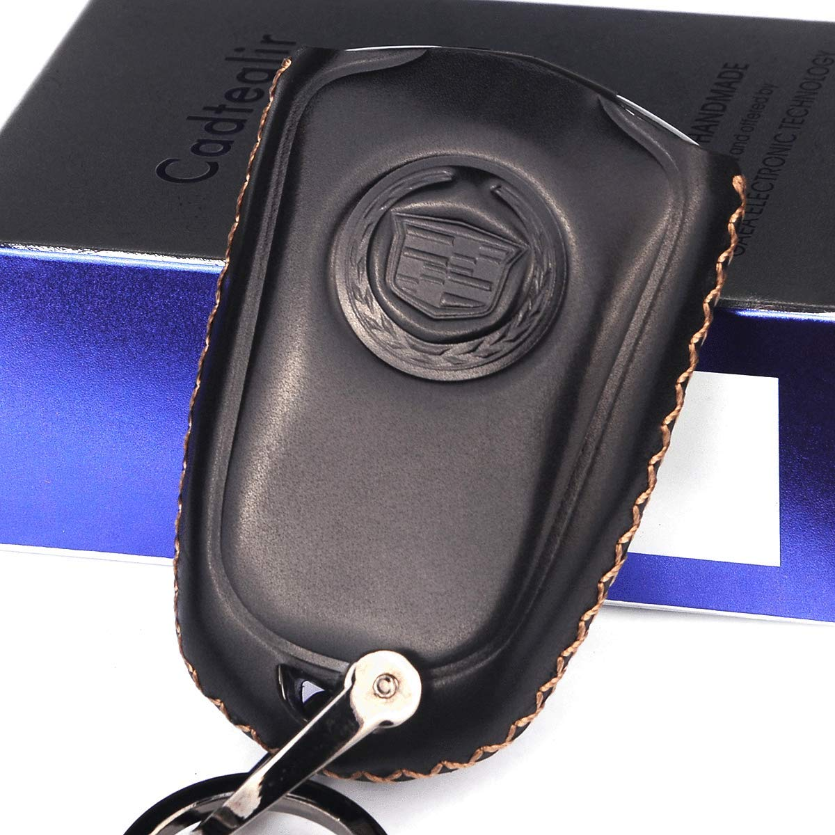 Cadtealir Calfskin Genuine Leather 2015-2018 Cadillac Escalade Remote Key fob Cover Leather Cadillac Escalade Key fob case Holder only for 6 Buttons Black Color