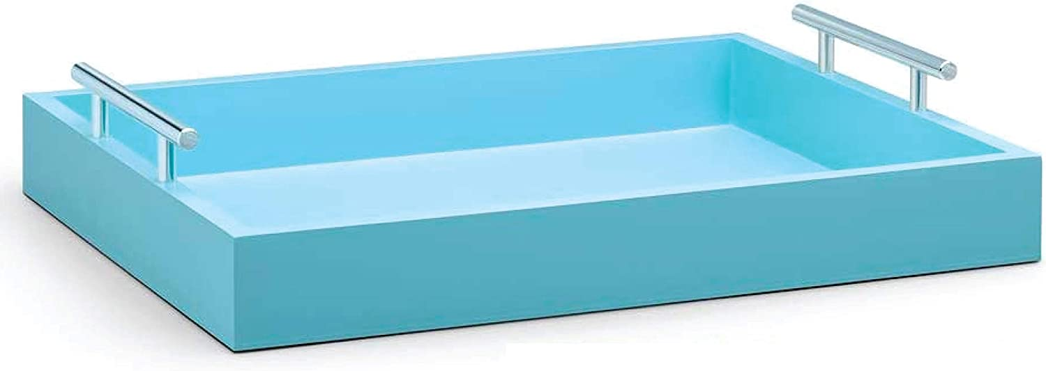 Quality by Esther Decorative Tray with Gold or Silver Handles. Light Blue Wood Tray. Decorative Trays for Coffee Table, Bathroom Vanity Tray, Decor Tray, Serving Tray, Ottoman Tray, or Perfume Tray