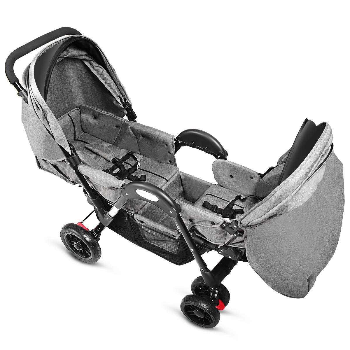Costzon Double Stroller, Baby Face to Face Carriage with Sleep/Sit/Recline Seat, 5-Point Safety Harness, Detachable Food Tray, Large Storage Space, Gray by Costzon (Image #2)
