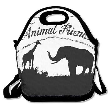 Zoo Amigos Animales Bebé elefante y giraffefs caja tienda almuerzo caja ajustable correa - bolsa para el almuerzo: Amazon.es: Hogar
