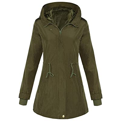 4How Women's Military Anorak Rain Jacket Lightweight Hooded Water Resistant Coat: Clothing