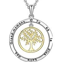 LOVORDS Collier Femme Gravé en Argent 925/1000 Pendentif Cercle et Arbre de Vie Cadeau pour Maman Grand-Mère