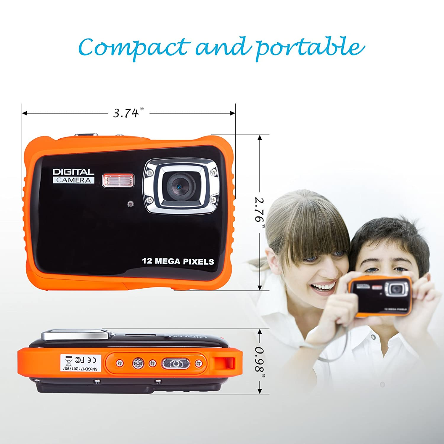 FLAGPOWER Kids Camera 12MP Waterproof Childrens Digital Camera Underwater Camcorder 4X Zoom with 2 inch LCD Screen and 16GB SD Card
