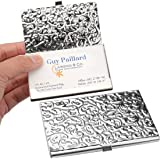 Amazon metal damask embossed business card case silver yobansa stainless steel business card holder credit card holder name card holder business card case for colourmoves