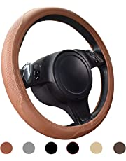 Ylife Microfiber Leather Car Steering Wheel Cover, Universal 15 inch Breathable Anti Slip Auto Steering Wheel Covers, Brown