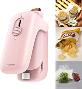 Mini Bag Sealer, 2 IN 1 Portable Heat Sealer and Cutter, Chip Bag Food Sealer Vacuum Machine for Snack Plastic Fresh Bags - Pink - Battery Not Included