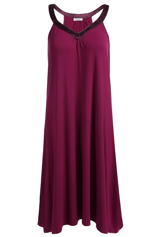 Ekouaer Womens V Neck Nightgown Sleepwear Slip Dress AMK006095