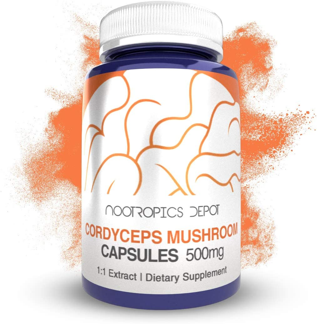 Cordyceps Mushroom Capsules 500mg 60 Count Cordyceps militaris Organic Whole Fruiting Body Mushroom Exract Supports Healthy Immune System