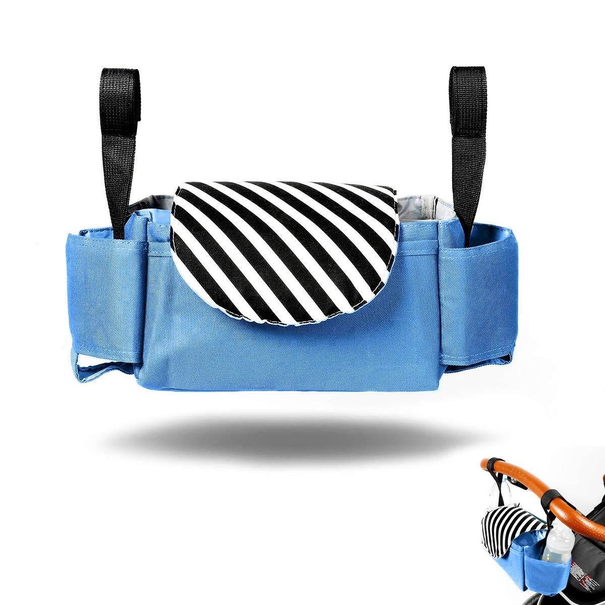 Organizador para Coches de Paseo con Dos Ganchos Universal Gran Capacidad Impermeable Bolsos Carro Bebe Azul Vawal Organizador Paseo Bebe
