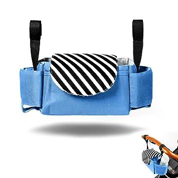 Bolsos Carro Bebe, Vawal Organizador Paseo Bebe, Organizador para Coches de Paseo con Dos Ganchos Universal Gran Capacidad Impermeable (Azul)