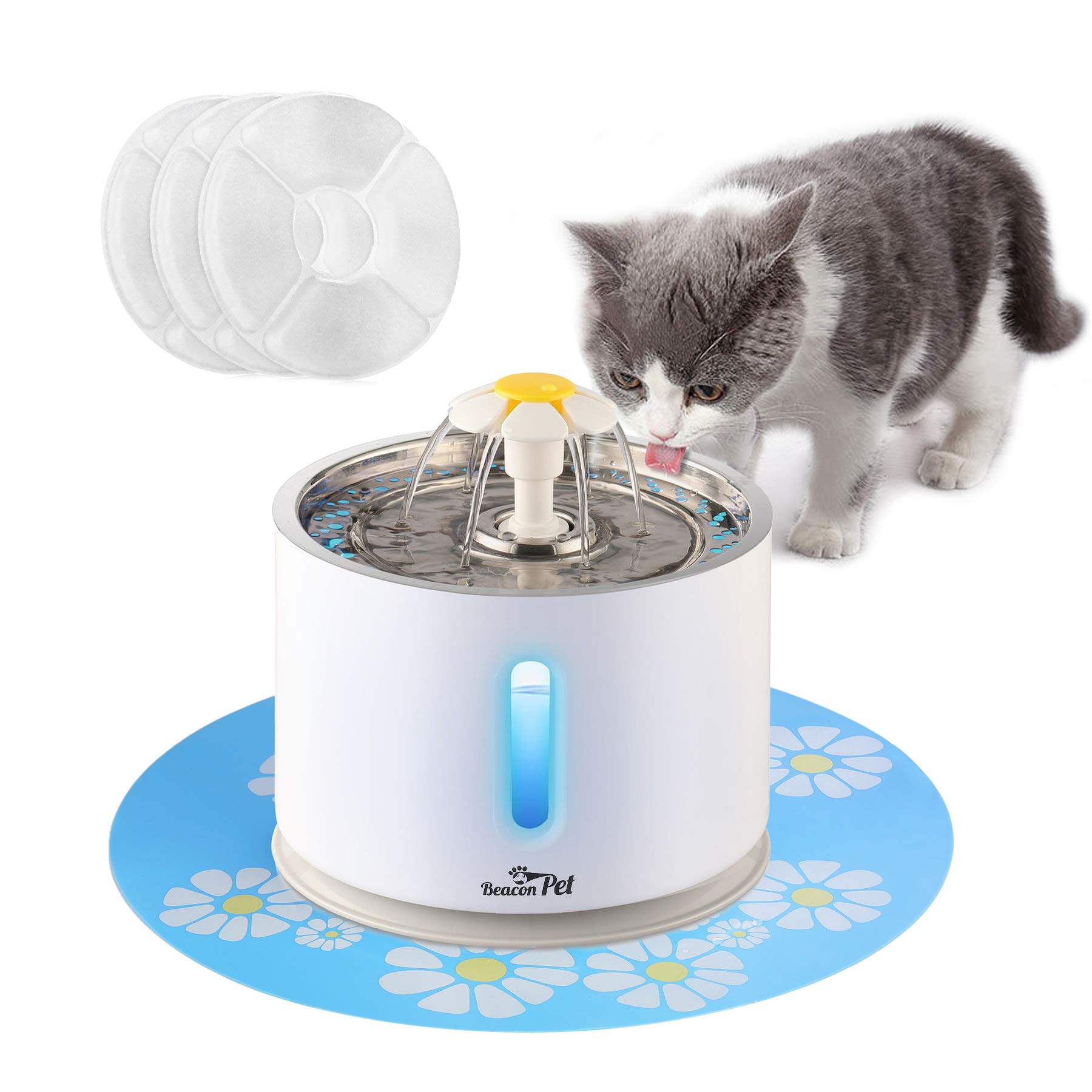 Cat Water Fountain Stainless Steel, LED Indicator 81oz/2.4L Automatic Pet Fountain Dog Water Dispenser with 3 Replacement Filters & 1 Silicone Mat for Cats, Dogs, Multiple Pets (with Flower)