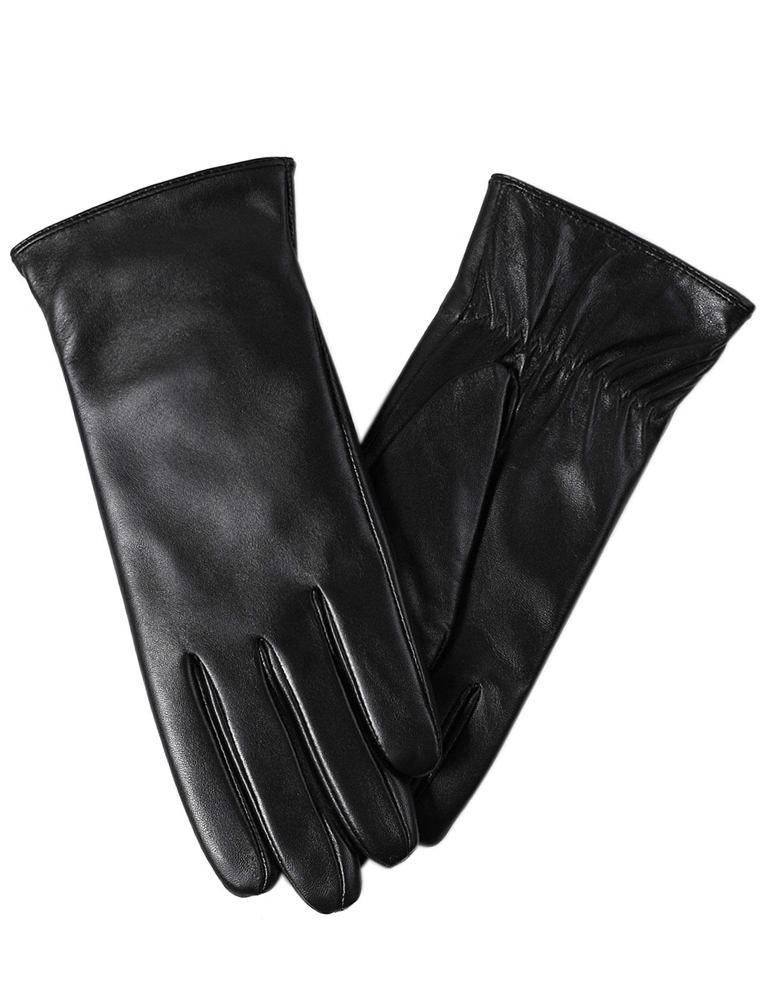 Super-soft Leather Winter Gloves for Women Full-Hand Touchscreen Warm Cashmere Lined Perfect Appearance by FEIQIAOSH