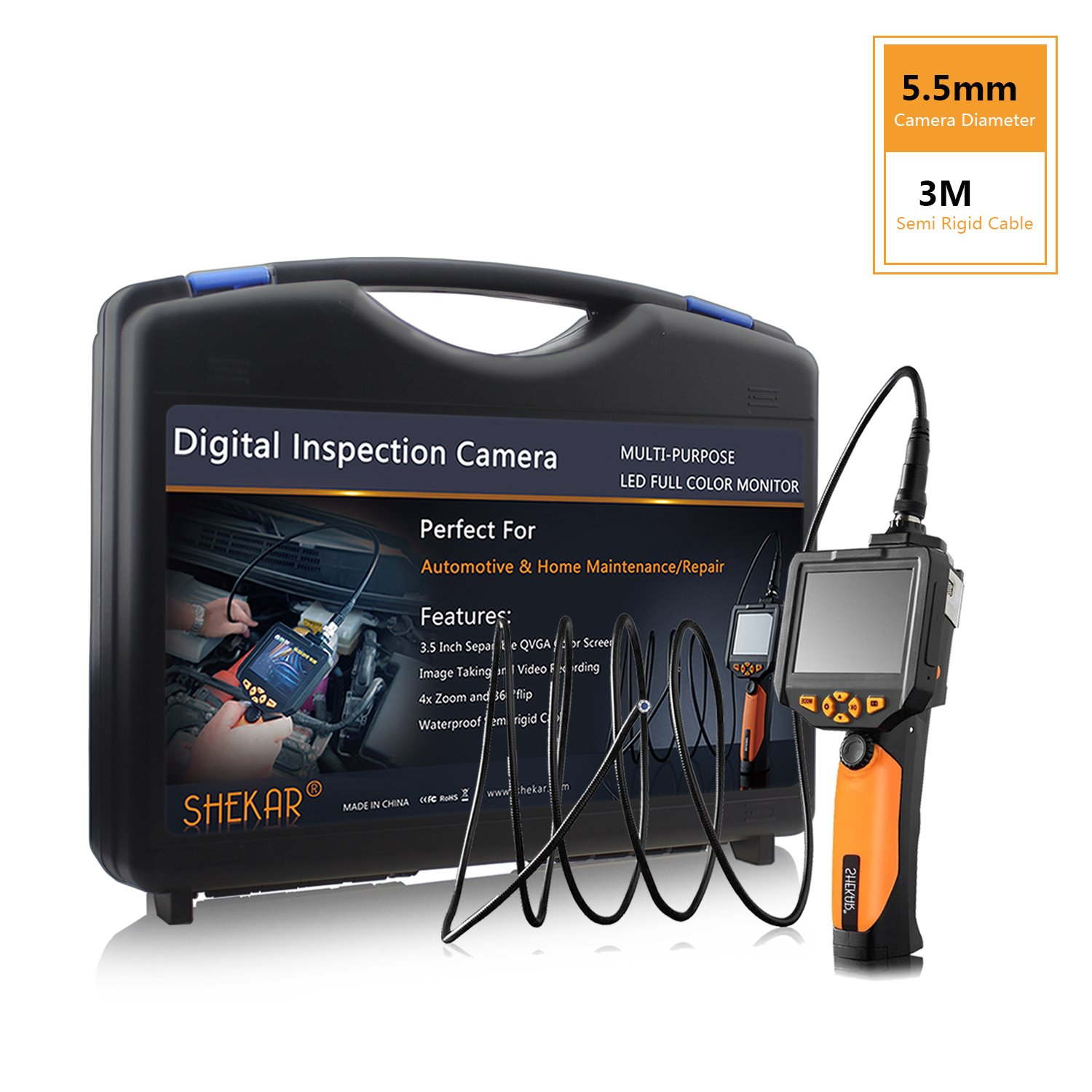 [Slim 5.5mm Dia.]SHEKAR Digital Inspection Camera with 3M Rigid Endoscope Camera, 2.7 inch Color Screen, Function of Zoom, Waterproof Handheld Borescope+Tool Box NTS100-3M