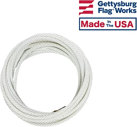 """5//16/"""" White Flagpole Halyard Rope with Cable Core Stainless Steel 50/' USA Made"""