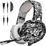 ONIKUMA Gaming Headset, Gaming Headphone with Microphone and Noise Canceling & LED Light, Memory Earmuffs for PS4, Xbox…