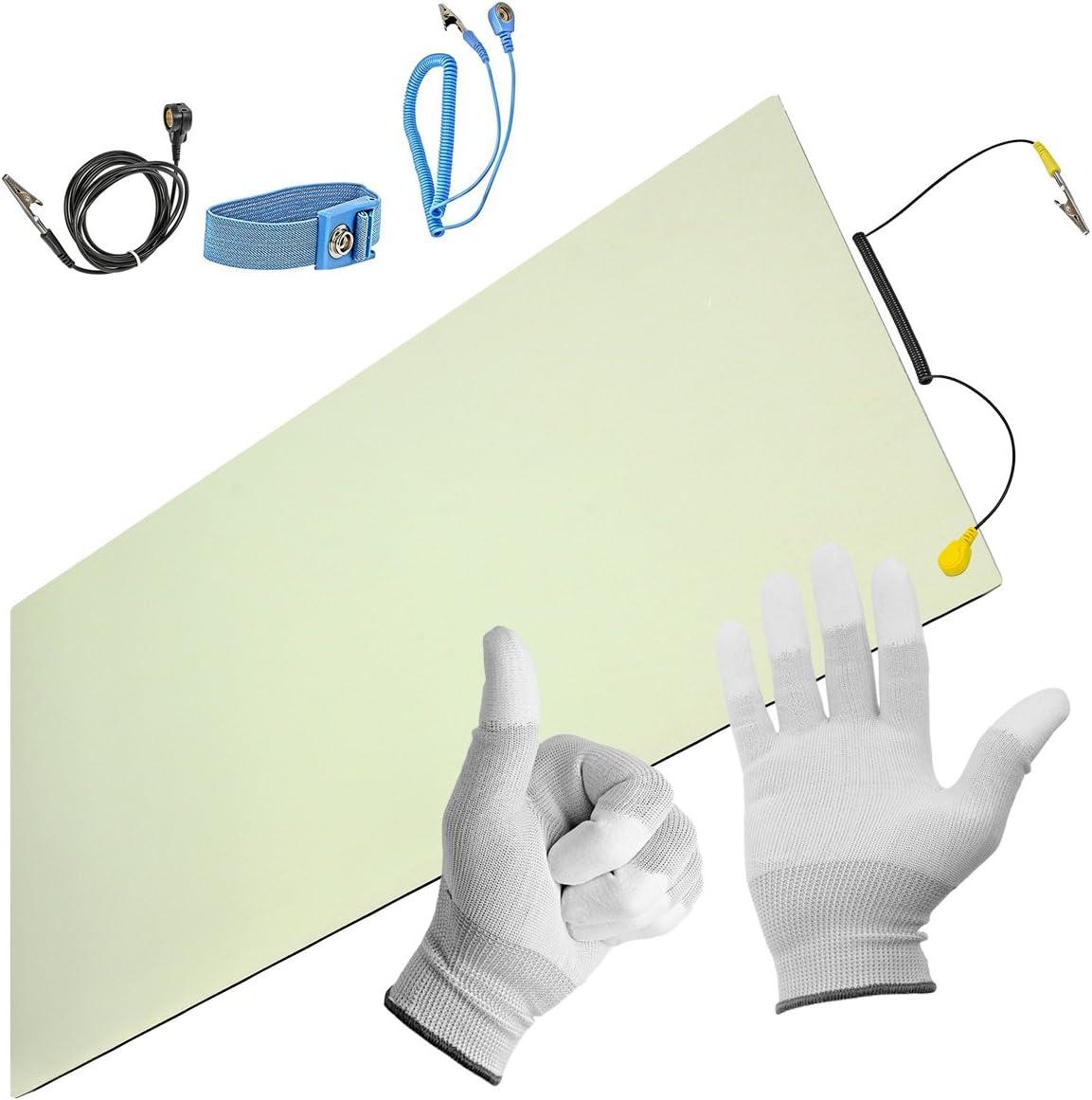 Professionelle Antistatische Arbeitsmatte inkl Qualit/ät Handschuhe PVC-Matte mit Erdungskabel Verl/ängerung ESD-Schutz Minadax/® ESD Antistatik-Matte 50 cm x 60 cm Manschette