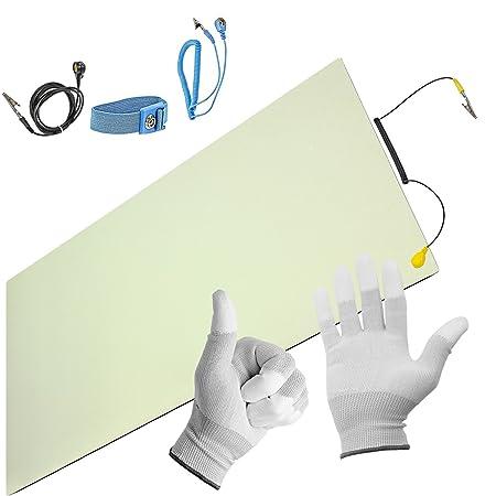 Minadax® ESD Antistatik-Matte 30cm x 55cm - inkl. Manschette + Verlängerung + Handschuhe - Professionelle Antistatische Arbei