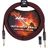 ADM Guitar Cable 10 FT 1/4 Straight to Straight Musical Instruments Electric Bass Mandolin Recording Studio Cord with 1/8 Adapter, Black