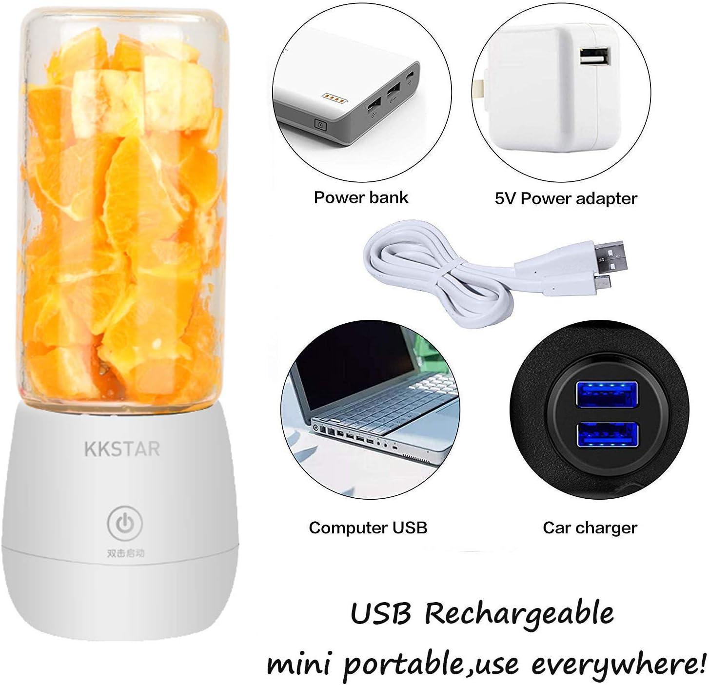 rose lait frapp/é et nourriture pour b/éb/és gymnase pour fruits KKSTAR Presse-agrumes /électrique portable bouteille de centrifugeuse de 450 ml /à 6 lames agrumes rechargeable par USB d/éplacements
