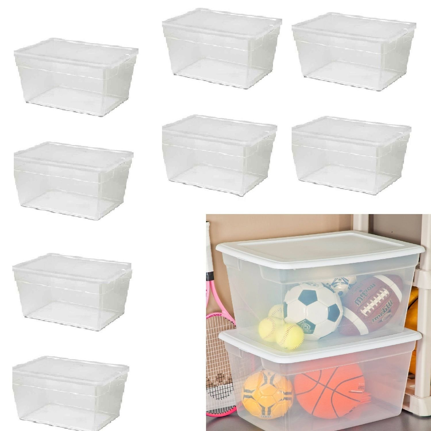 8 Plastic Tote Large Storage Bin Container 58qt CLEAR Stackable Box with Lid Set