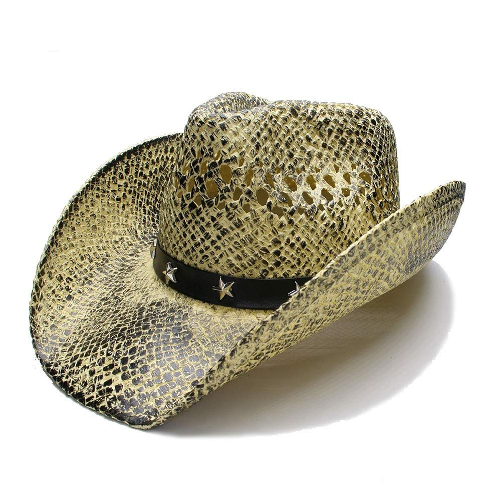 For women's hats New Women Men Summer Sun Hat Husk Wide Brim Beach Hollow-out Cowboy Westerly Cowgirl Fedora Hat Sombrero Cap (Color : 1, Size : 56-58CM)