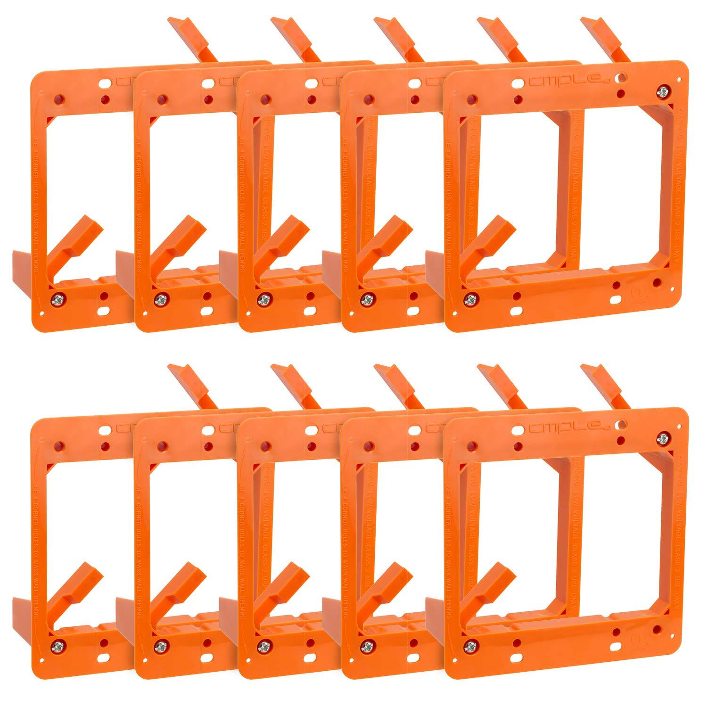 Cmple - Low Voltage Mounting Bracket 2 Gang Multipurpose Drywall Mounting Wall Plate Bracket - (Dual Gang, 10 PACK)