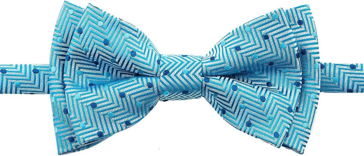 Retreez Zig Zag Striped Textured with Polka Dots Woven Pre-tied Boys Bow Tie