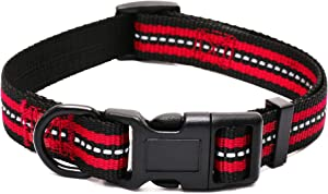 """Mile High Life Night Reflective Double Bands Nylon Dog Collar (Red, Small Neck 11""""-15"""" -20 lb)"""