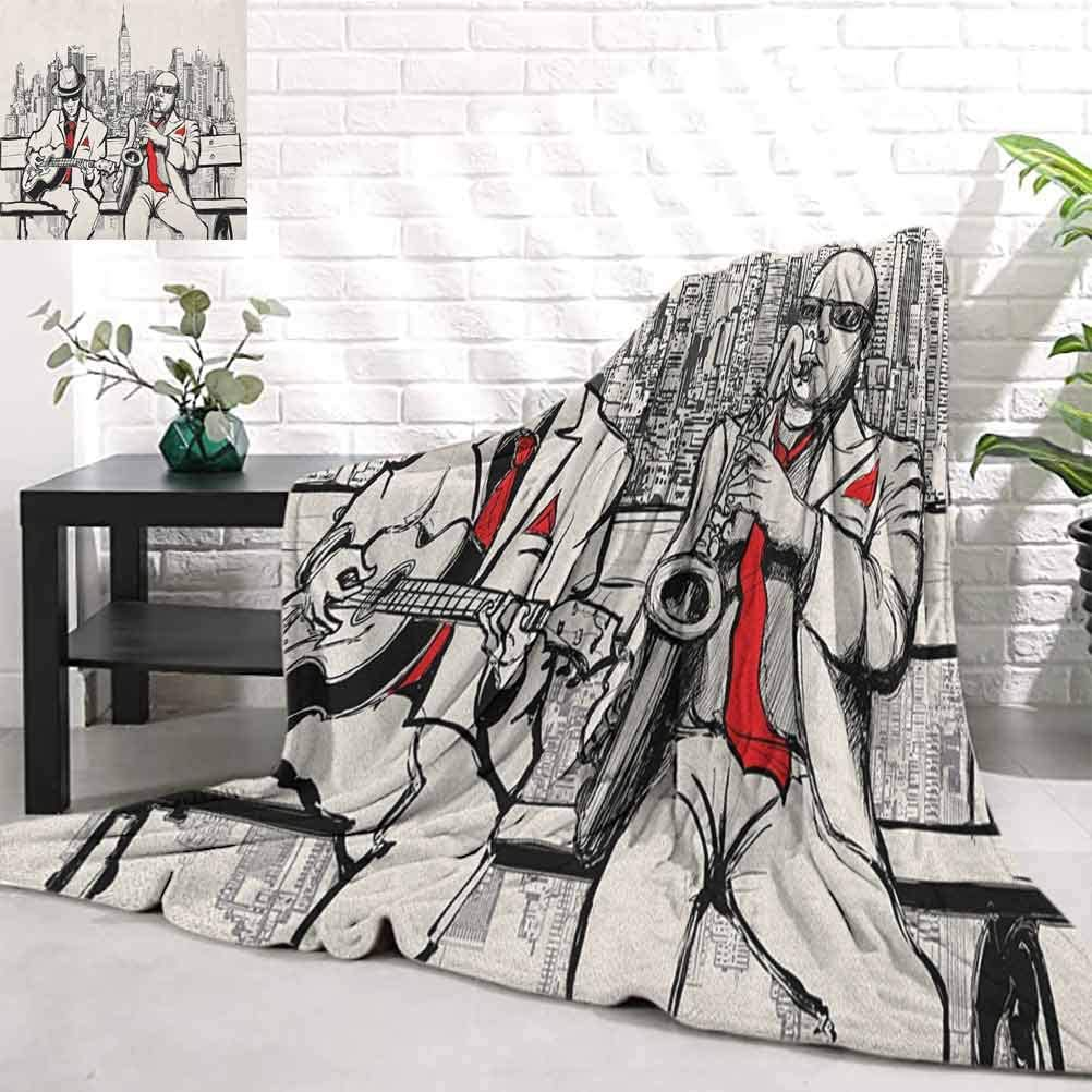 RenteriaDecor Music,Jazz Men Band Playing Beats in New York at Night Retro Style Illustration Print, Red Black Ecru Warm Cozy Throw Blankets for Office W90 x L70 Inch