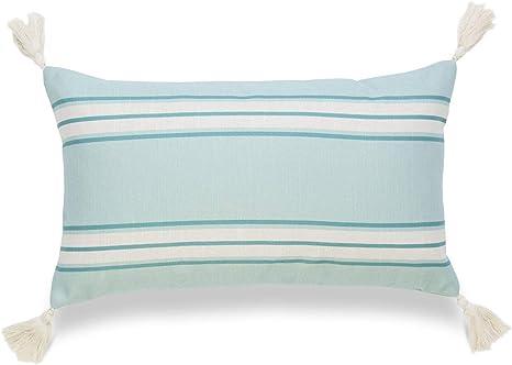 Coastal Pillow Cover Blue and Beige Boho Pillow 20 x 20 inch Blue and Beige Stripe Pillow Coastal Throw Pillow Cover