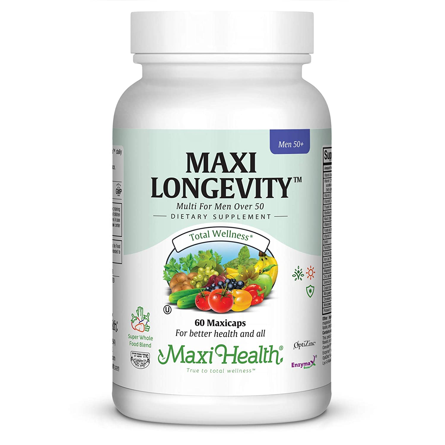 Maxi Health Longevity – Multivitamins Minerals Supplement for Men Over 50-60 Capsules – Kosher