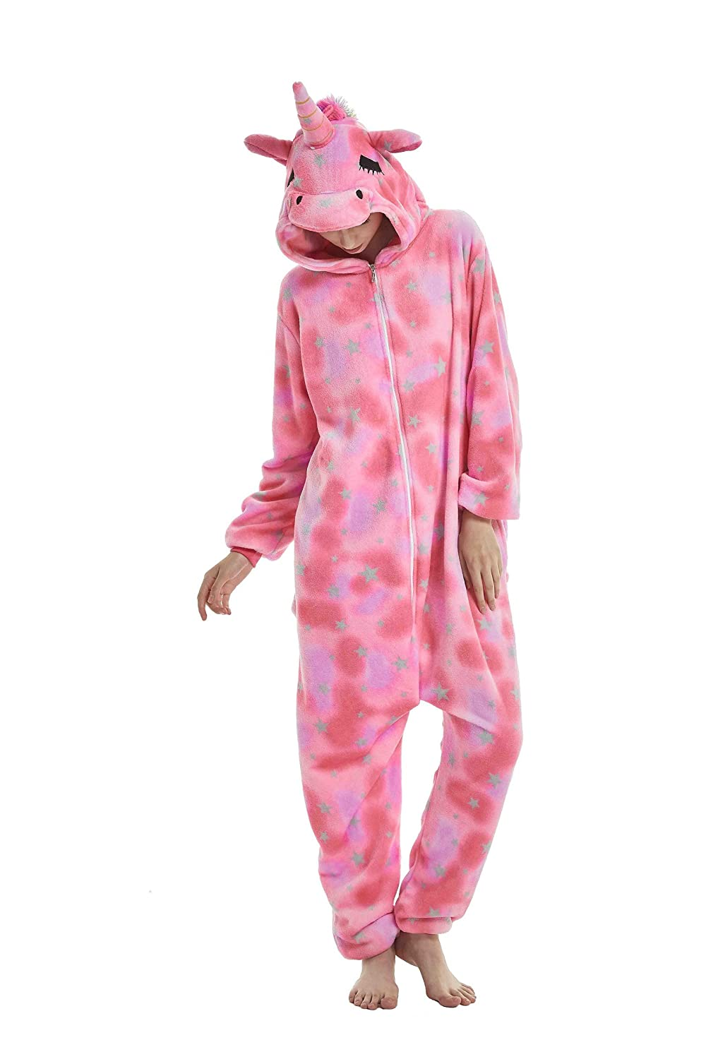 Tuopuda Unicorn One Piece Pyjamas Unisex Adult Onesie Animal Pajamas Homewear Sleepwear Nightclothes Christmas Halloween Party Cosplay Costume