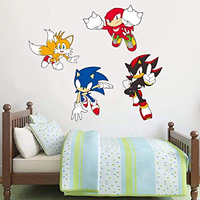 Sonic The Hedgehog Wall Sticker Sonic, Tails, Knuckles and Shadow Wall Decals Vinyl Kids Bedroom Art (120cm Width x 40cm Height): Baby