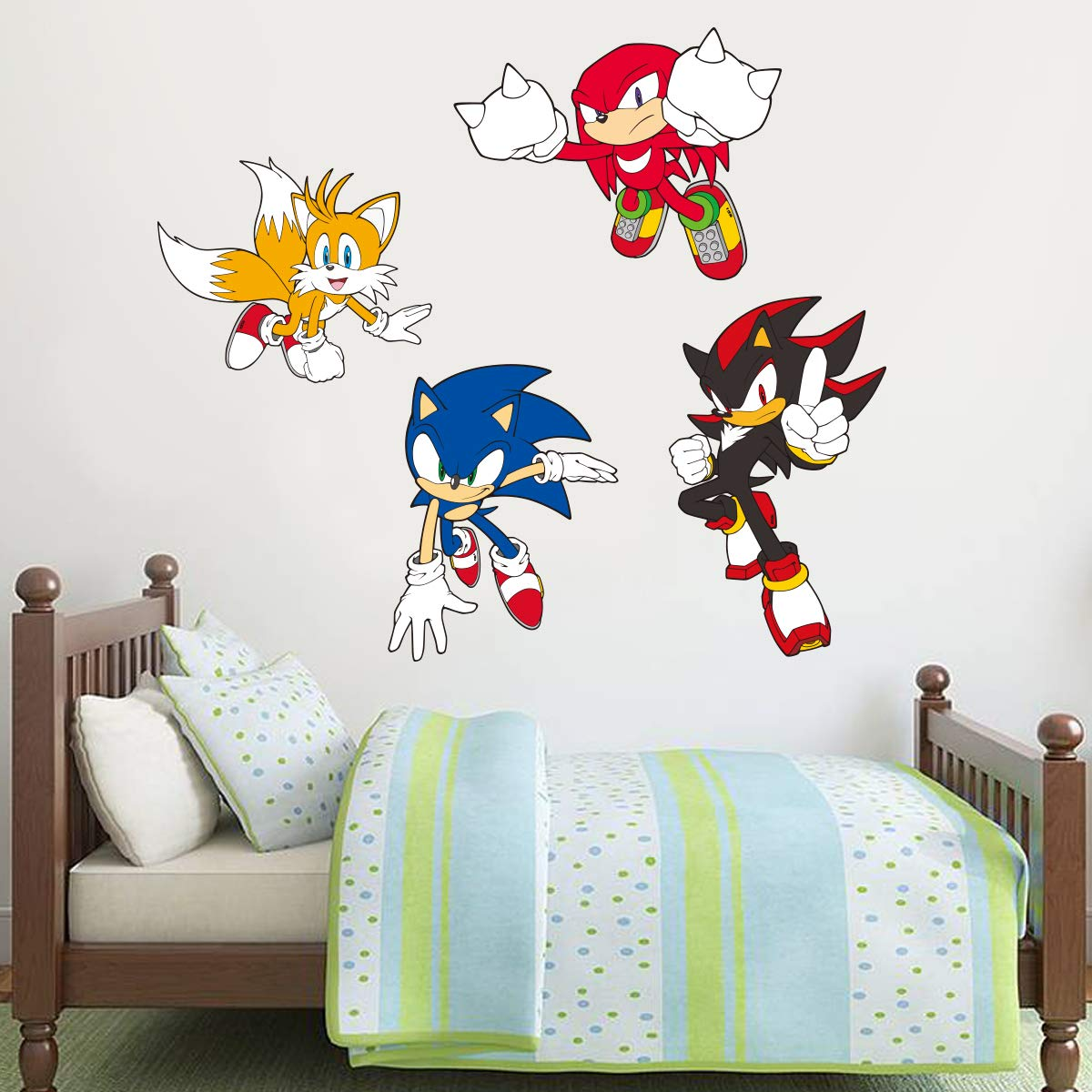 Amazon Com Sonic The Hedgehog Wall Sticker Sonic Tails Knuckles And Shadow Wall Decals Vinyl Kids Bedroom Art 120cm Width X 40cm Height Baby